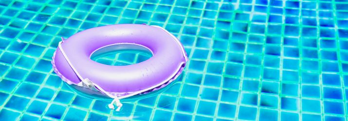 Picture of rubber ring and swimming pool