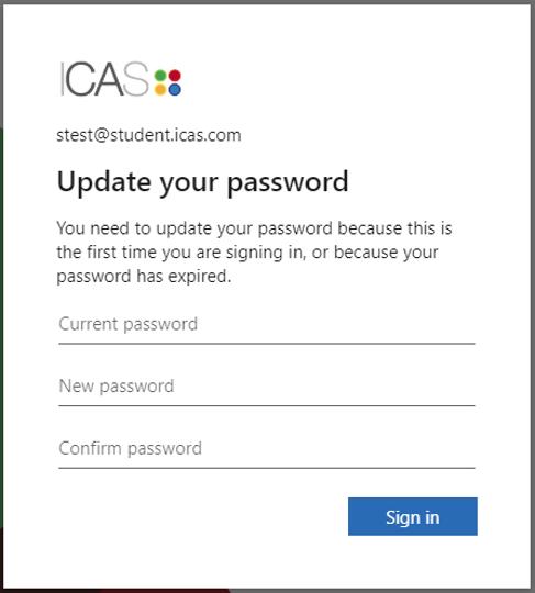 screenshot of password pop up window