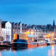 A photo of the Leith harbour in Scotland