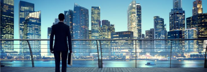 Modern city businessman