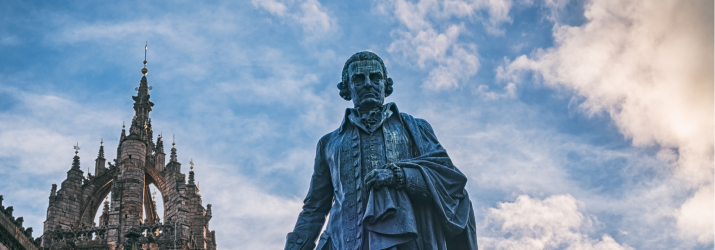 Photo of Adam Smith statue in Edinburgh