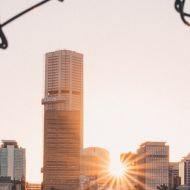 Photo of city and rising sun through a broken chainlink fence