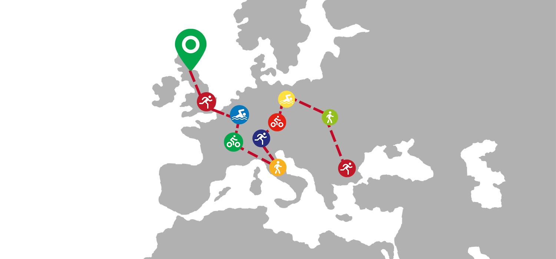 Map of Europe charting journey's progress