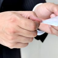 Handing over a business card