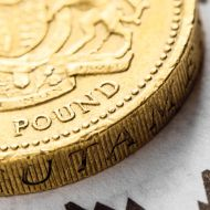 Photo of a pound coin against rising chart images