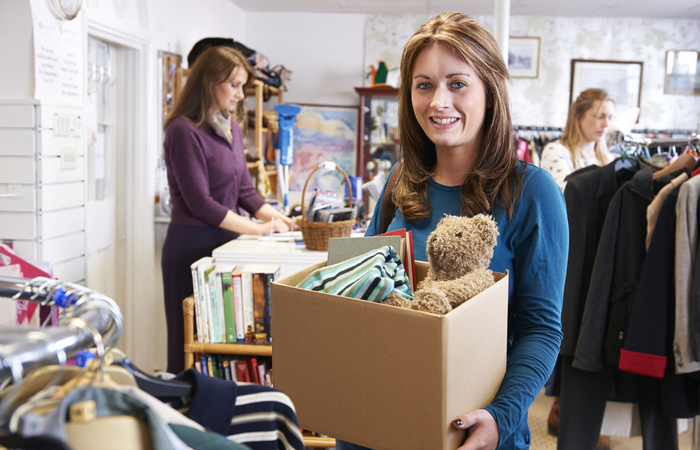 Women volunteering in charity shop