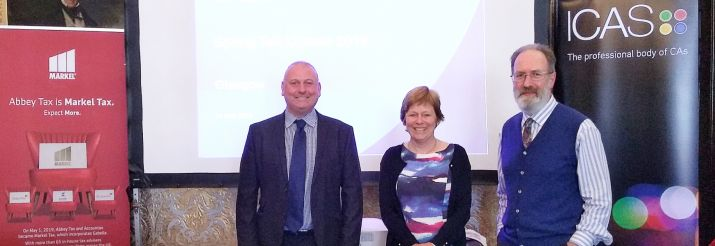 Spring Tax Updates 2019, From left to right - Ian Donaldson from Markel Tax, Charlotte Barbour from ICAS and Philip McNeill from ICAS