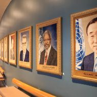 The reception hallway of portraits at the UN