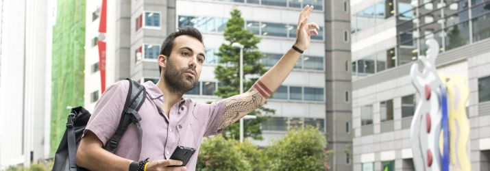 Man hailing an Uber