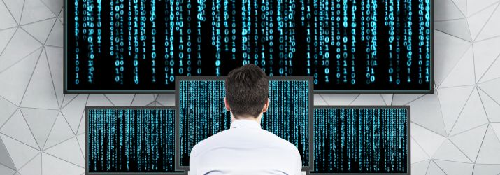 Picture of an office worker at the matrix