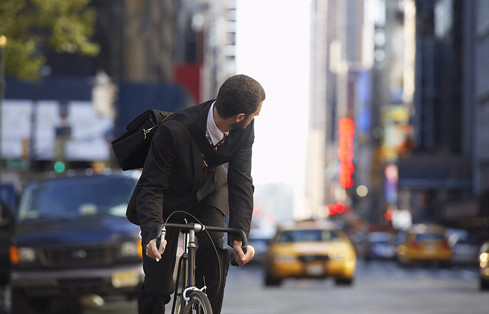 Man on bike in New York