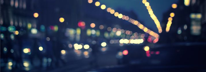 Blurry street at night