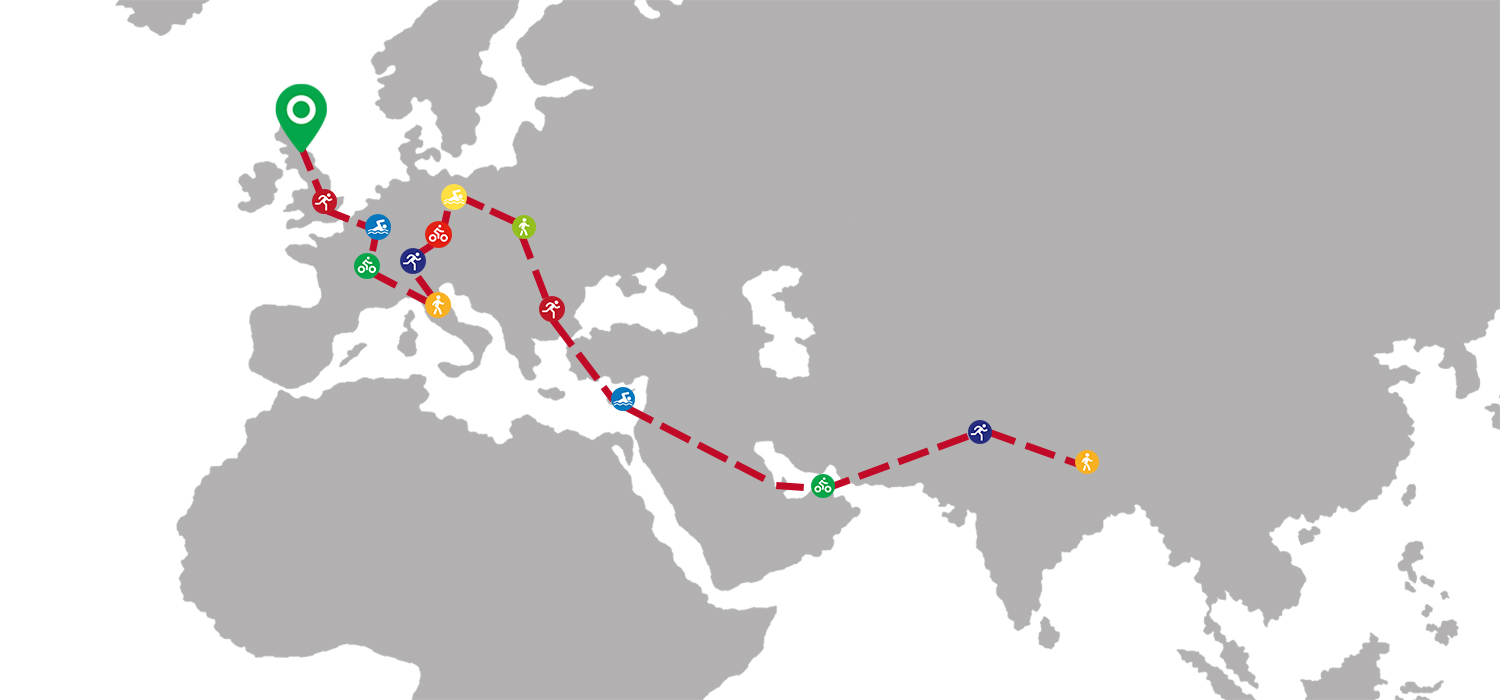 Map of the world charting the journey's progress