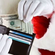 Santa holding money