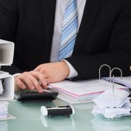Business man working at desk