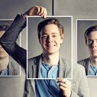 Picture of a man with multiple expressions