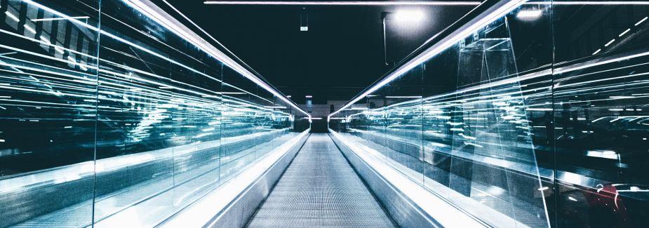 Photo of a rising escalator